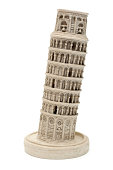 Pisa tower souvenir isolated on white (side view)