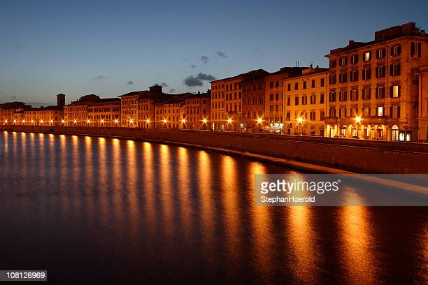 Pisa waterfront twilight