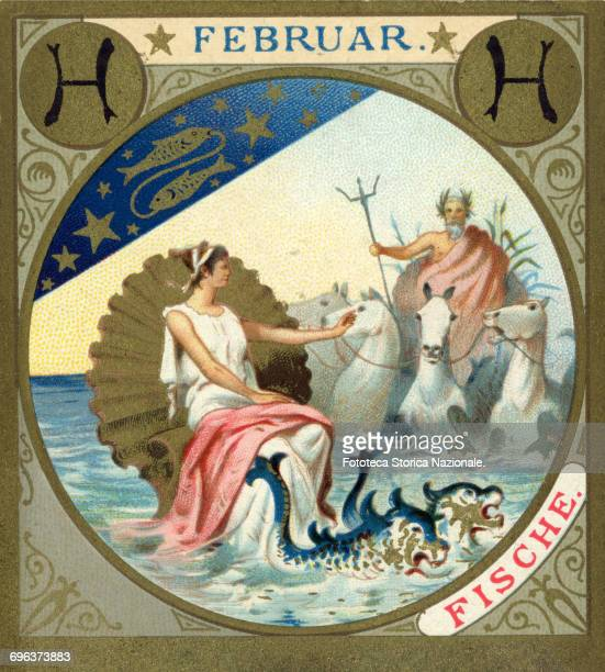 Pisces emerging Venus and Neptune little picture dedicated to February from a series illustrated with zodiac signs and scenes from classical...