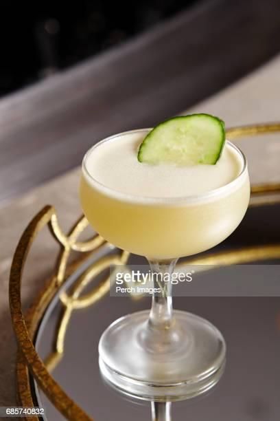 Pisco Sour with Cucumber Garnish