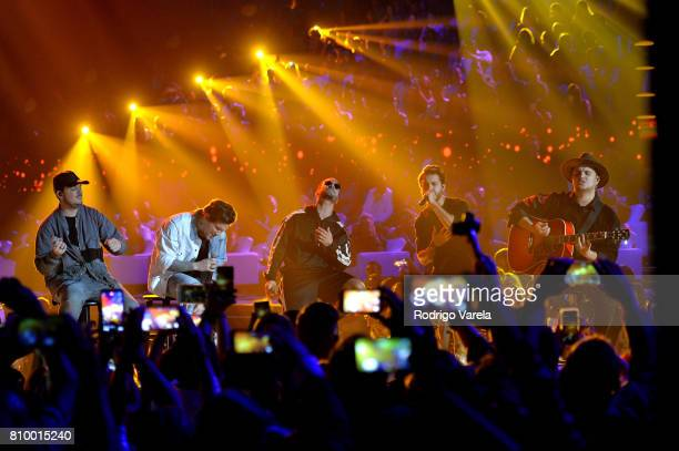 Piso 21 and Maluma perform on stage during Univision's 'Premios Juventud' 2017 Celebrates The Hottest Musical Artists And Young Latinos ChangeMakers...