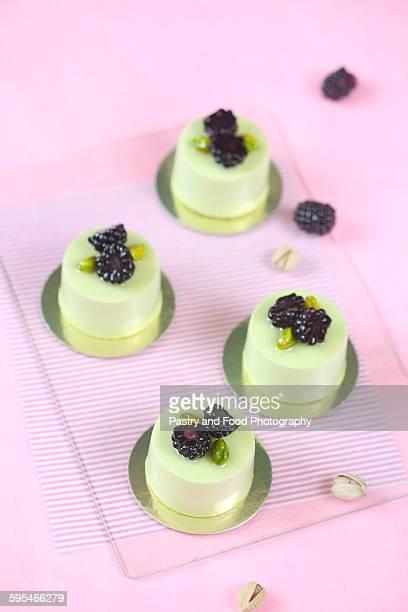 Pistachio Blackberry Individual Mousse Cakes