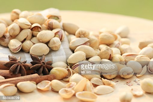 Pistachio nut and chinese herb : Stock Photo