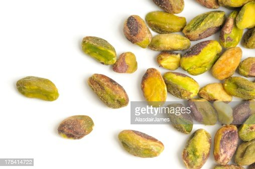 Pistachio Nuts shelled and scattered