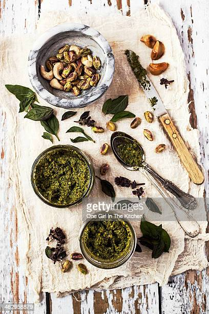 Pistachio Pesto with Mortar, Jars and Spoons