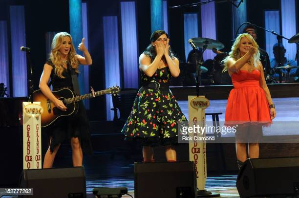 Pistol Annie's FIRST ever preformance at The Grand Ole Opry Ashley Monroe Angaleena Presley and Miranda Lambert perform during the celebration of...