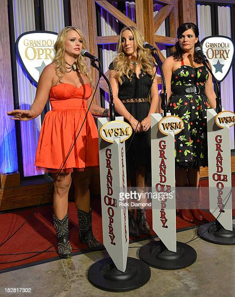 Pistol Annie's Miranda Lambert Ashley Monroe and Angaleena Presley attend the press conference for the celebration of Loretta Lynn's 50th Opry...