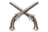 Pistol gun weapon brown wooden old flintlock. 3D rendering