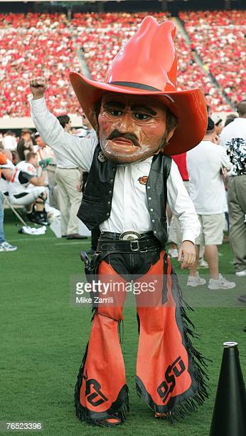 Pistol Pete the Oklahoma State Cowboys mascot tries to pump up the Oklahoma State fans during the game against the Georgia Bulldogs on September 1...