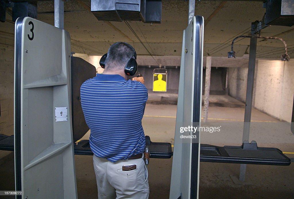 Pistol Practice at Indoor Range