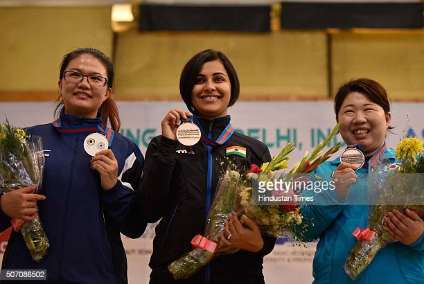 Pistol Shooter Heena Sidhu wins gold in 10 metre air pistol in Asian Olympic Qualifying Competition at Dr Karni Singh Shooting Range on January 27...