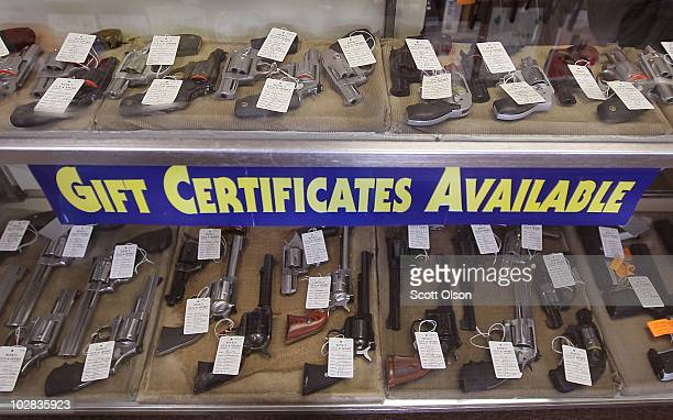 Pistols are offered for sale at Rinks Gun and Sport in suburban Chicago on July 12 2010 in Lockport Illinois Chicago began enforcing its new gun law...