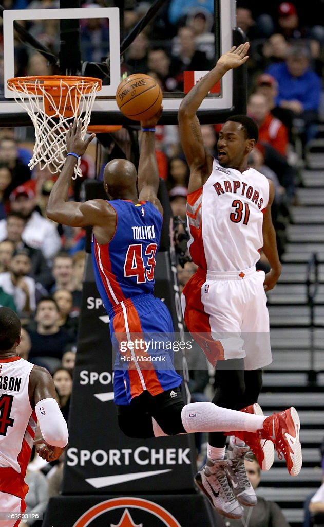TORONTO JANUARY 25 Pistons Anthony Tolliver finishes as Raptors Terrence Ross tries to put a stop to the drive Toronto Raptors vs Detroit Pistons...