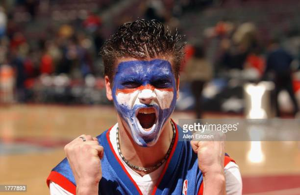 Pistons fan show his support as he displays his painted face during the NBA game between the Los Angeles Clippers and the Detroit Pistons at The...
