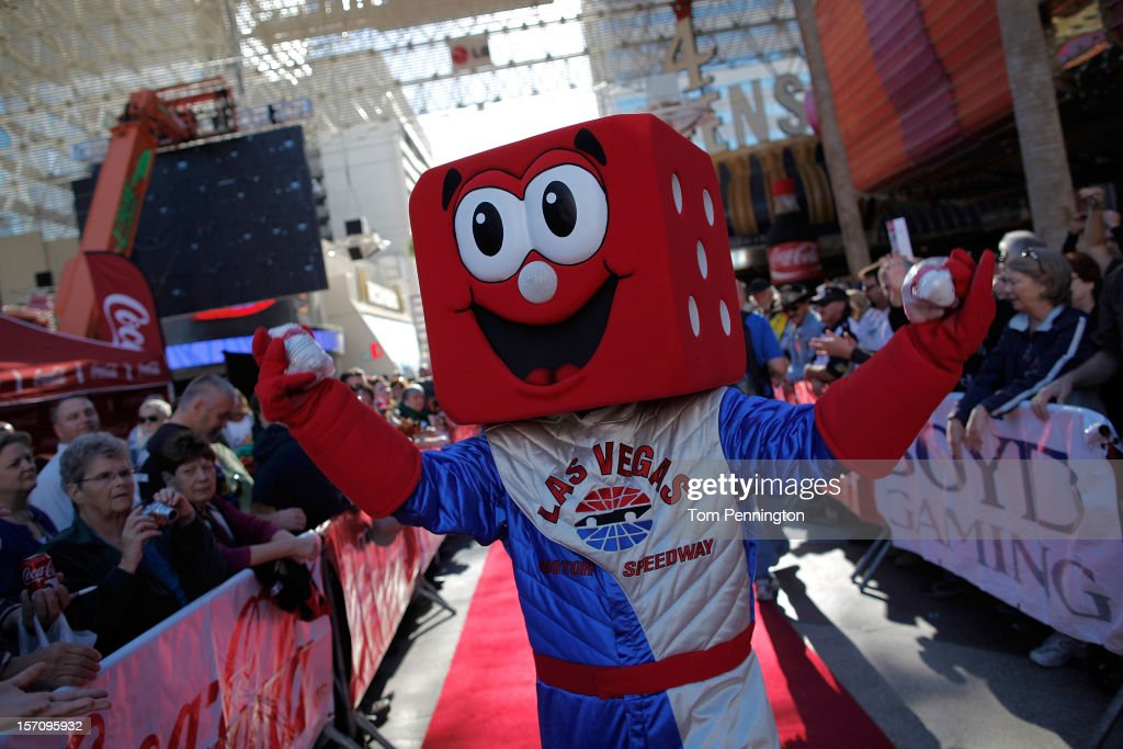 Pit Boss, the mascot for Las Vegas Motor Speedway greets fans during NASCAR Fanfest presented by Las Vegas Motor Speedway at the Fremont Street Experience on November 28, 2012 in Las Vegas, Nevada.