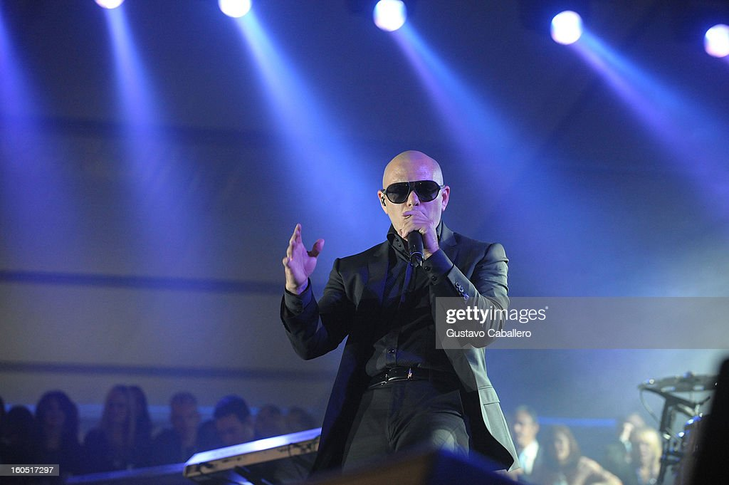 Pit Bull performs at the Rolling Stone LIVE party held at the Bud Light Hotel on February 1, 2013 in New Orleans, Louisiana.