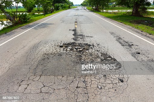 Pit on highway. : Stock Photo