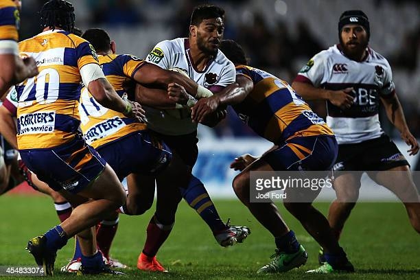 Pita Ahki of North Harbour is tackled during the ITM CUp match between Bay of Plenty and North Harbour on September 7 2014 in Rotorua New Zealand