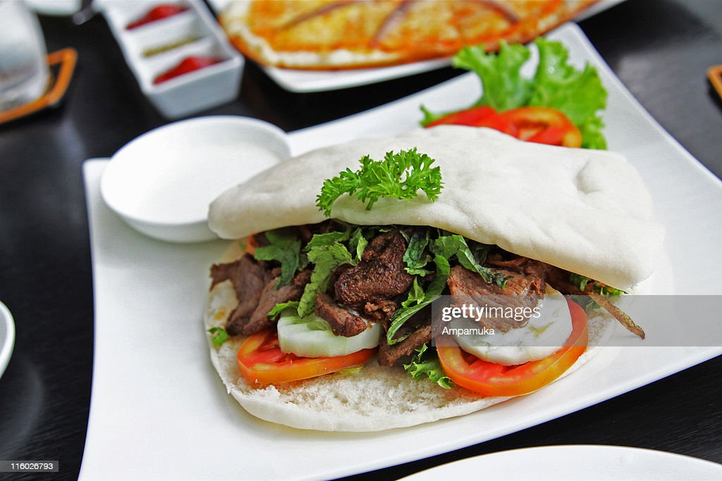 Pita bread with lamb : Stock Photo