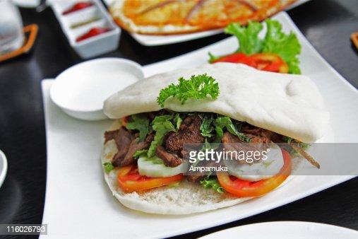 Pita bread with lamb : Stock Photo