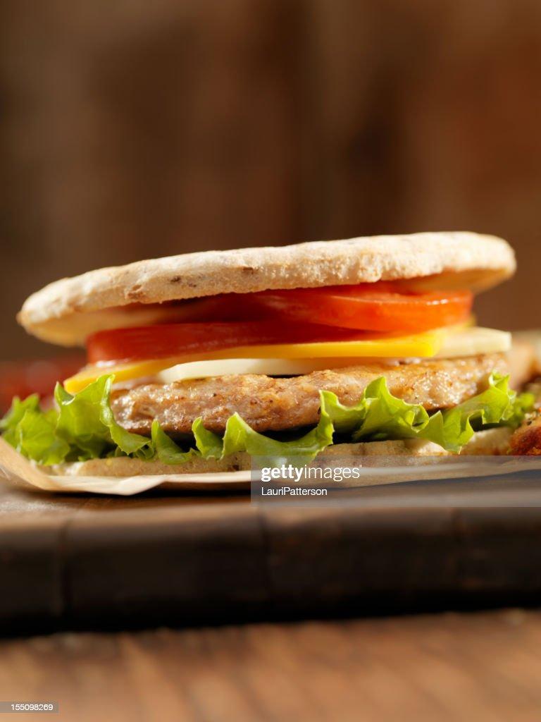 Pita Turkey Burger : Stock Photo