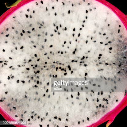 Pitahaya cross-section, close-up : Stock Photo