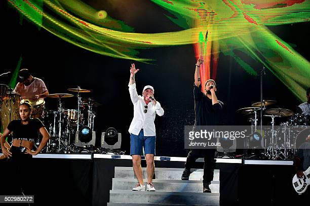 Pitbull and Jussie Smollett during Pitbull's New Year's Revolution rehearsal at Bayfront Park Amphitheater on December 30 2015 in Miami Florida