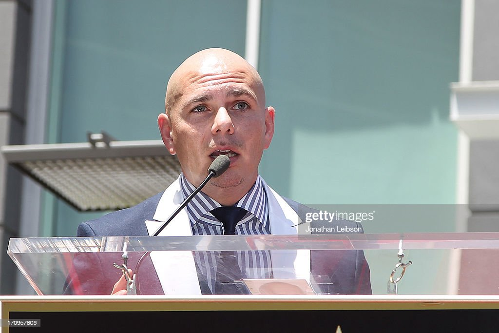 Pitbull attends the the ceremony honoring Jennifer Lopez with a Star on The Hollywood Walk of Fame held on June 20, 2013 in Hollywood, California.