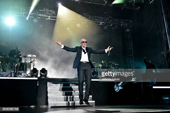 PitBull performs at the Pitbulls New Years Eve Revolution 2015 at Bayfront Park Amphitheater on December 31 2015 in Miami Florida