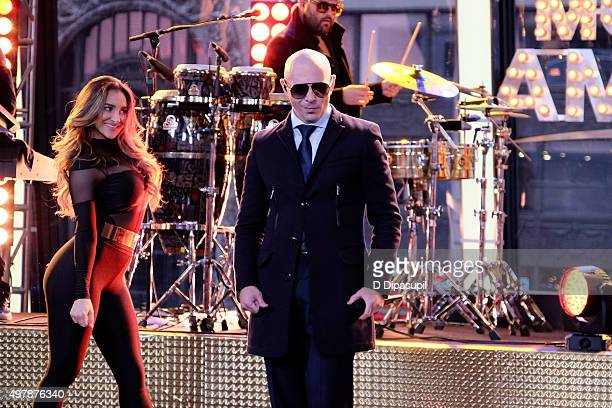 Pitbull performs during 'Good Morning America's' 40th Anniversary at GMA Studios on November 19 2015 in New York City