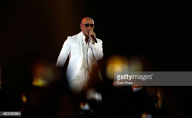 Pitbull performs during the closing ceremony on Day 16 of the Toronto 2015 Pan Am Games on July 26 2015 in Toronto Canada