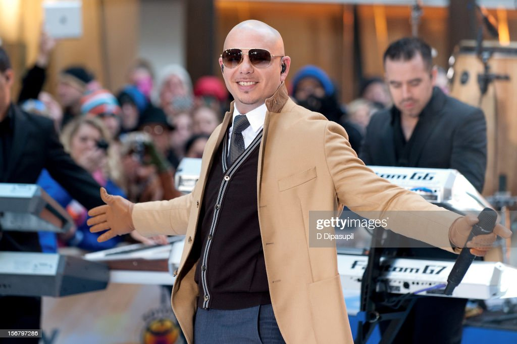 Pitbull performs on NBC's 'Today' at Rockefeller Plaza on November 21, 2012 in New York City.