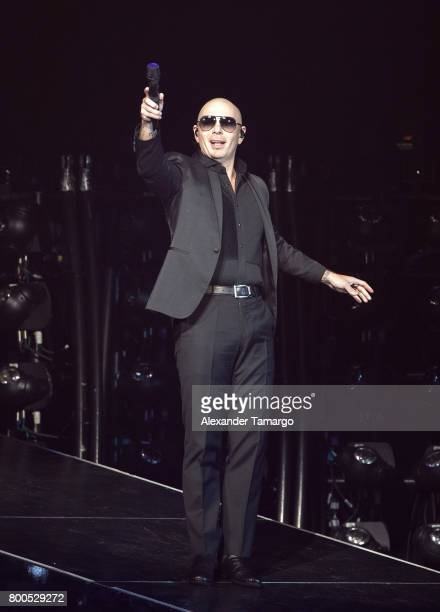 Pitbull performs on stage at the AmericanAirlines Arena on June 23 2017 in Miami Florida