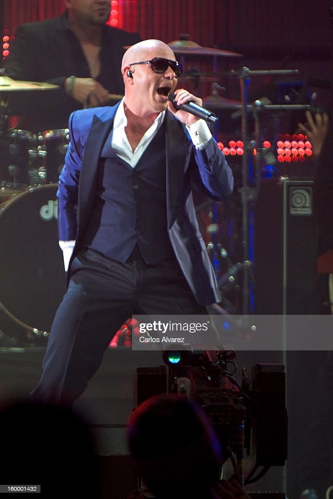 Pitbull performs on stage during '40 Principales Awards' 2012 at Palacio de los Deportes on January 24, 2013 in Madrid, Spain.