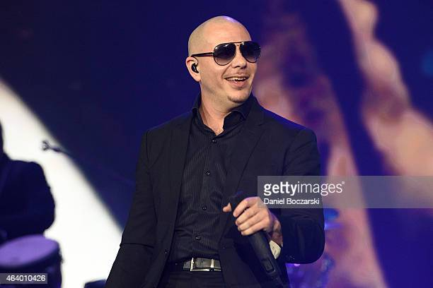 Pitbull performs onstage at Allstate Arena on February 20 2015 in Rosemont Illinois