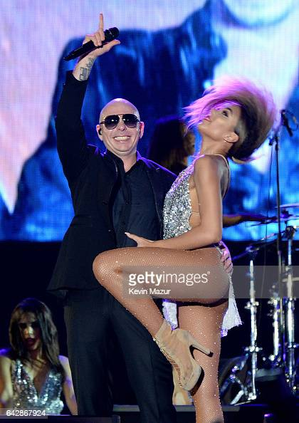 Pitbull performs onstage at Smoothie King Center on February 18 2017 in New Orleans Louisiana