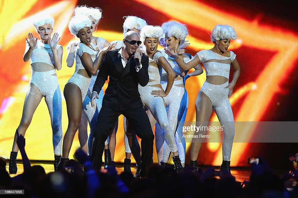 Pitbull performs onstage at the MTV EMA's 2012 at Festhalle Frankfurt on November 11, 2012 in Frankfurt am Main, Germany.