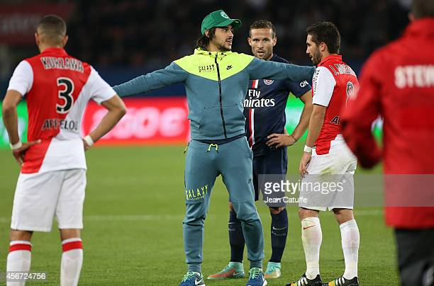A pitch invader enters the field during the French Ligue 1 match between Paris SaintGermain FC and AS Monaco at Parc des Princes stadium on October 5...