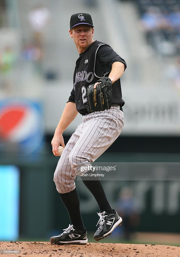 Pitcher Aaron Cook of the Colorado Rockies pitches against the Kansas City Royals on May 23 2010 at Kauffman Stadium in Kansas City Mo The Rockies...