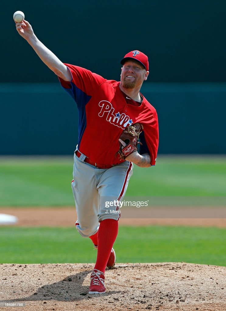 Pitcher Aaron Cook #29 of the Philadelphia Phillies pitches against the Baltimore Orioles during a Grapefruit League Spring Training Game at Ed Smith Stadium on March 23, 2013 in Sarasota, Florida.