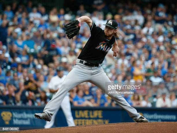 Pitcher Adam Conley of the Miami Marlins delivers a pitch during the first inning of their game against the Milwaukee Brewers at Miller Park on...