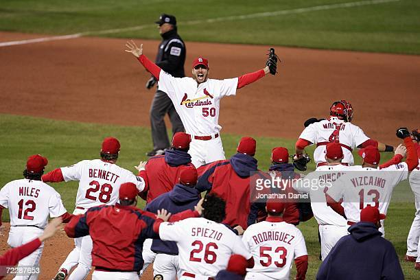 Pitcher Adam Wainwright of the St Louis Cardinals celebrates with teammates after defeating the Detroit Tigers in Game Five of the 2006 World Series...