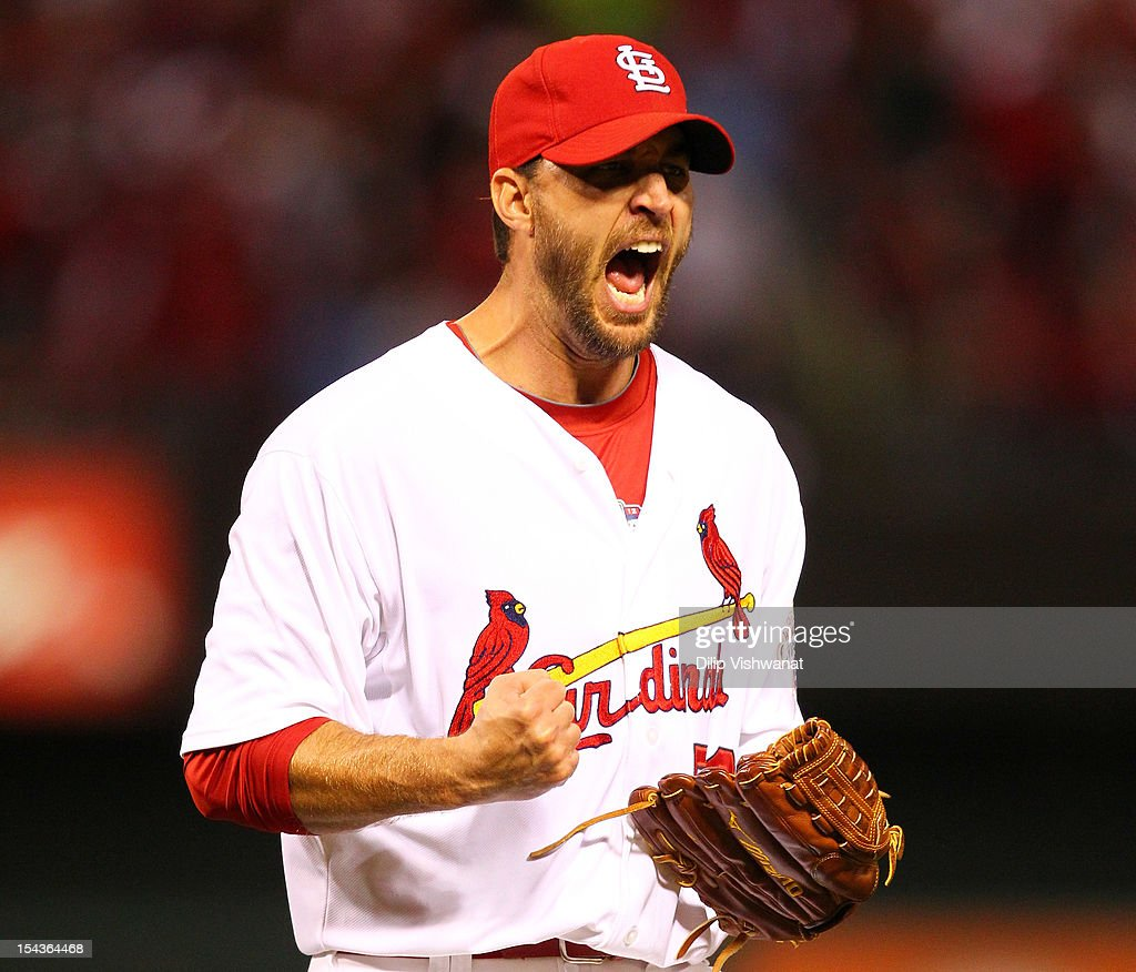 Pitcher <a gi-track='captionPersonalityLinkClicked' href=/galleries/search?phrase=Adam+Wainwright&family=editorial&specificpeople=547879 ng-click='$event.stopPropagation()'>Adam Wainwright</a> #50 of the St. Louis Cardinals reacts after the end of the sixth inning against the San Francisco Giants in Game Four of the National League Championship Series at Busch Stadium on October 18, 2012 in St Louis, Missouri.