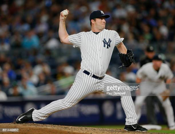 Pitcher Adam Warren of the New York Yankees pitches in an MLB baseball game against the Boston Red Sox on August 11 2017 at Yankee Stadium in the...