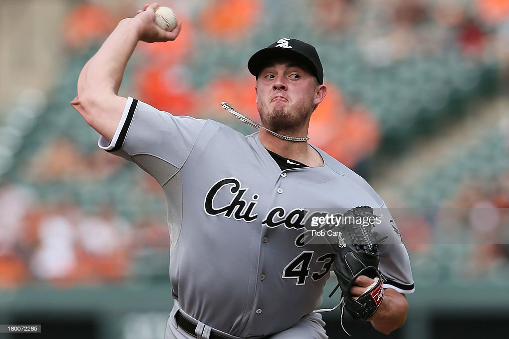Pitcher Addison Reed #43 of the Chicago White Sox throws to a Baltimore Orioles batter during the ninth inning of the White Sox 4-2 win at Oriole Park at Camden Yards on September 8, 2013 in Baltimore, Maryland.