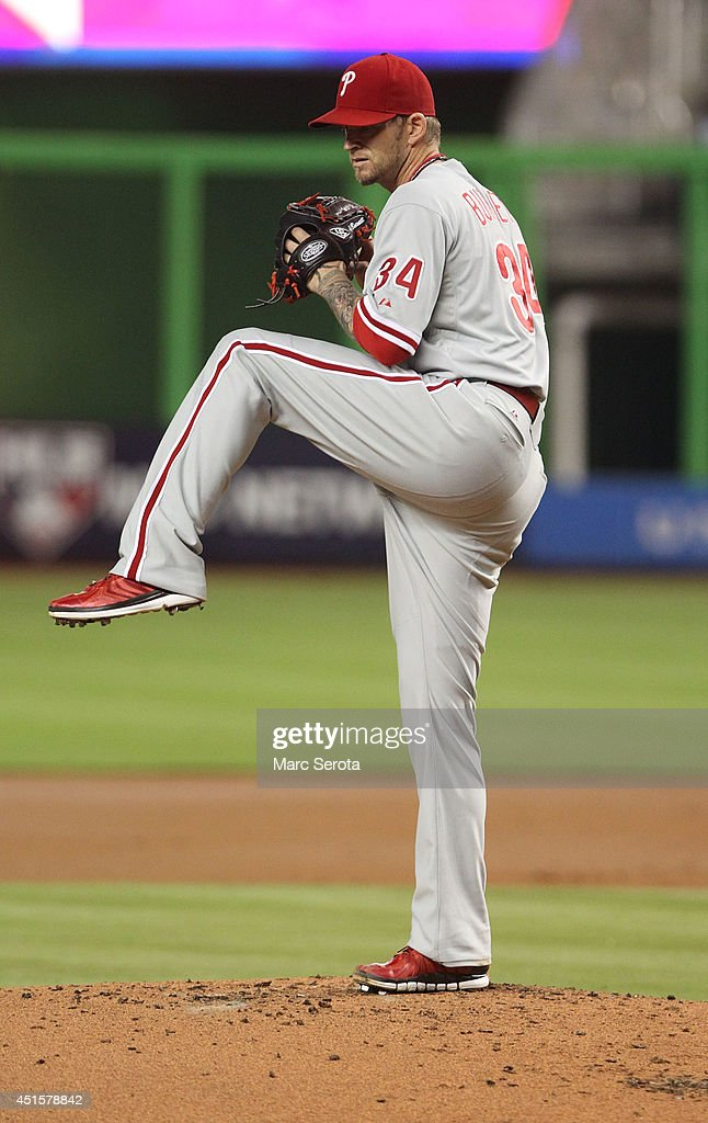 Pitcher <a gi-track='captionPersonalityLinkClicked' href=/galleries/search?phrase=A.J.+Burnett&family=editorial&specificpeople=213103 ng-click='$event.stopPropagation()'>A.J. Burnett</a> of the Philadelphia Phillies throws against the Miami Marlins during the second inning at Marlins Park on July 1, 2014 in Miami, Florida.