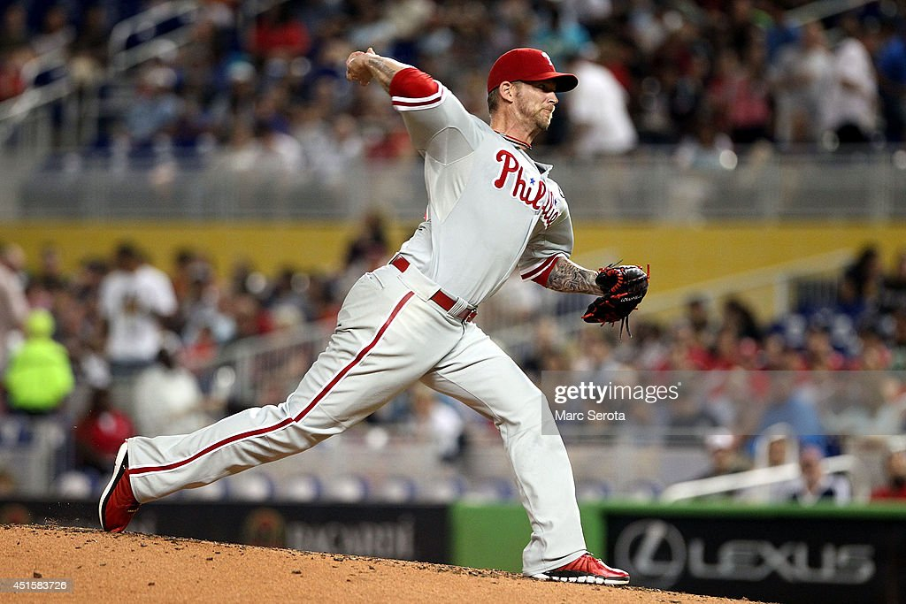 Pitcher <a gi-track='captionPersonalityLinkClicked' href=/galleries/search?phrase=A.J.+Burnett&family=editorial&specificpeople=213103 ng-click='$event.stopPropagation()'>A.J. Burnett</a> #34 of the Philadelphia Phillies throws against the Miami Marlins during the fifth inning at Marlins Park on July 1, 2014 in Miami, Florida. The Marlins defeated the Phillies 5-4.