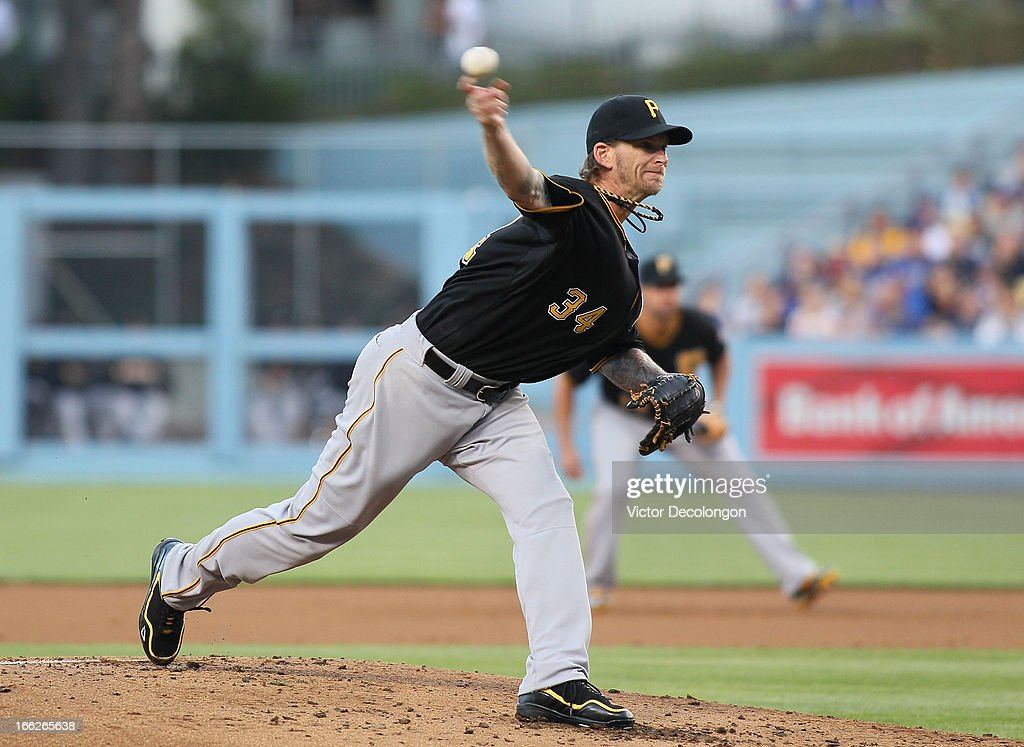 Pitcher <a gi-track='captionPersonalityLinkClicked' href=/galleries/search?phrase=A.J.+Burnett&family=editorial&specificpeople=213103 ng-click='$event.stopPropagation()'>A.J. Burnett</a> #34 of the Pittsburgh Pirates pitches in the second inning during the MLB game against the Los Angeles Dodgers at Dodger Stadium on April 6, 2013 in Los Angeles, California. The Dodgers defeated the Pirates 1-0.