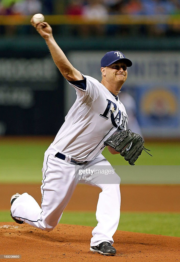 Pitcher <a gi-track='captionPersonalityLinkClicked' href=/galleries/search?phrase=Alex+Cobb&family=editorial&specificpeople=7512114 ng-click='$event.stopPropagation()'>Alex Cobb</a> #53 of the Tampa Bay Rays pitches against the Baltimore Orioles during the game at Tropicana Field on October 1, 2012 in St. Petersburg, Florida.