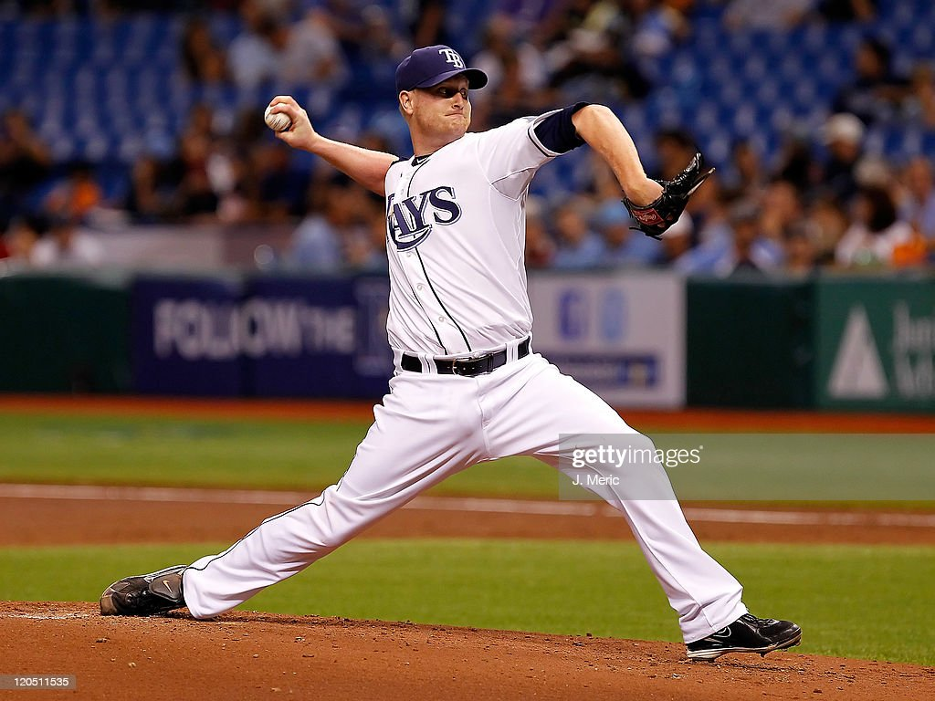 Pitcher <a gi-track='captionPersonalityLinkClicked' href=/galleries/search?phrase=Alex+Cobb&family=editorial&specificpeople=7512114 ng-click='$event.stopPropagation()'>Alex Cobb</a> #53 of the Tampa Bay Rays pitches against the Oakland Athletics during the game at Tropicana Field on August 6, 2011 in St. Petersburg, Florida.